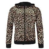 Hikenn Herren Leopard Jacke KapuzenJake Kapuzen Hoodie Sweatshirts Pullover Mäntel (XS, 1#)
