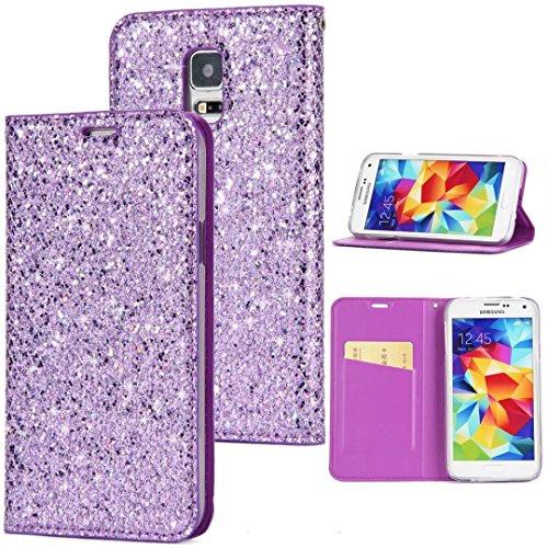 Sycode Galaxy S5 Flip Hülle,Luxus Lila Glitzer PU-Leder Buchstil Wallet Brieftasche Schutzhülle Etui für Samsung Galaxy S5-Lila
