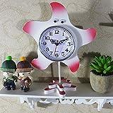 ONZ Kreative Single Seestern Ornamente Pendeluhr Studenten Kinder Niedlich Kleine Arbeitszimmer Schlafzimmer Uhren,Rot