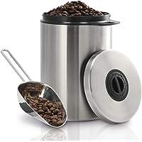 Xavax Boîte en acier inoxydable (pour 1 kg de grains de café, avec pelle, hermétique, fermeture d'arôme, également pour…