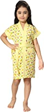 Be You Yellow Strawberry Printed Kids Bath Robe for Girls