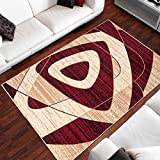 Tapis Moderne Design Triangles Ovales Rouge Differentes Dimensions (140 x 200 cm)