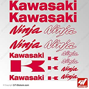 Stickers KAWASAKI NINJA - ROUGE - Planche de 16 Stickers , adhésifs, autocollants, zx9r, zx12r, zx10r, zx6r, zxr