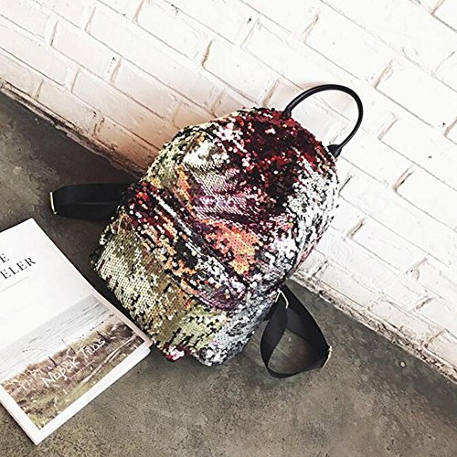 Gold Bookbag (GREEN HOME 1 1 STÜCK Meerjungfrau Glitter Pailletten Frauen Reversible Rucksack Schultasche Rucksack Studenten Casual Für Tasche Bookbag Kreative Frauen Tasche (Gold))