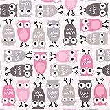 lustiger weißer Eulen Stoff Pink Minis rosa-grau von