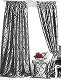 Trendoro 1 Vorhang, Vorhangschal Kollektion *PalazzoSWS* 140 x 245 cm, Schwarz/Silbergrau, Jacquard-Qualität, Blickdicht, Ateliergefertigt