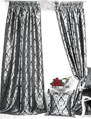 Trendoro 1 Vorhang, Vorhangschal Kollektion *PalazzoSWS* 140 x 245 cm, Schwarz/Silbergrau,...
