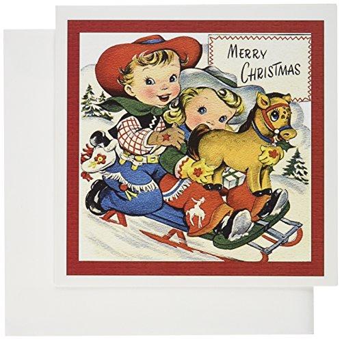 Little Cowboy und Cowgirl mit Spielzeug Pony Rodeln-Grußkarten, 15,2x 15,2cm, Set 12(GC 172807_ 2)
