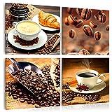 murando - Bilder Kaffee 60x60 cm - Vlies Leinwandbild - 4 Teilig - Kunstdruck - Modern - Wandbilder XXL - Wanddekoration - Design - Wand Bild - Kaffeebohnen Tasse Küche - j-B-0032-b-i