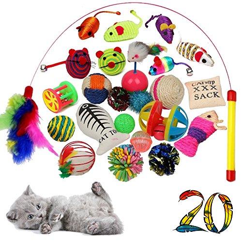 BLACK LION 20 Katzenspielzeug inklusive Katzenangel, qualitativ hochwertiges Spielzeug für Katzen, Bälle Stoffmäuse Federn, Interaktiv spielen, Intelligenz beschäftigung, Cat Toys, Zubehör, Katze