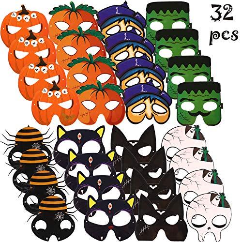 32 Stücke Halloween Maske Karikatur Kostüm Maske Gesicht Maske DIY Halloween Maske Handwerk Kit für Halloween Party Kostüm Zubehör