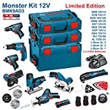 BOSCH Kit 12V BMK9AD3 (GSR 12V-15 + GTB 12V-11 + GDR 12V-105 + GWS 12V-76 + GST 12V-70 + GKS 12V-26 + GOP 12V-LI + GSA 12V-14 + GLI 12V-80 + 3 x 2,0Ah + AL1230CV)