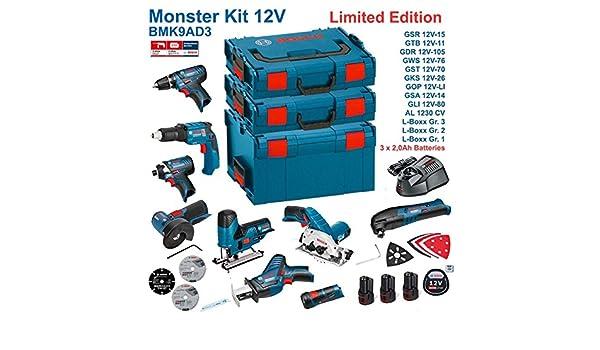 BOSCH Kit 12V BMK9AD3 GSR 12V-15 + GTB 12V-11 + GDR 12V-105 + GWS 12V-76 + GST 12V-70 + GKS 12V-26 + GOP 12V-LI + GSA 12V-14 + GLI 12V-80 + 3 x 2,0Ah + AL1230CV
