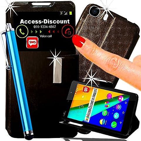 *** PACK LUXE *** Etui Housse WIKO PULP FAB 4G coque pochette de protection Portefeuille flip cover avec fenetre SVIEW NOIR pour Smartphone 5.5 dual lte double sim (+ STYLET BLEU Turquoise)