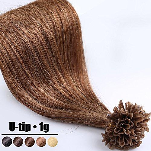 Extension capelli veri cheratina ciocche 1 grammo/ciocca pre bonded u tip allungamento 100% remy human hair - 50cm 50g #6 castano
