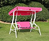 Angel Living Balançoire Chaise Pour Enfants 2Places Jardin Extérieur Chaise Couleur Stripes Hamac avec l' Auvent (Rose rouge)