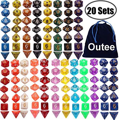 Outee 140 Stück Polyeder Würfel Spiel Würfel, 20 Komplettsets von d20, d12, 2 d10 (00-90 und 0-9), d8, d6 und d4 für DND MTG RPG Dungeons und Drachen, mehrere Farben