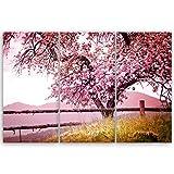 ge Bildet® hochwertiges Leinwandbild XXL Pflanzen Bilder - Frühlingsbaum - Natur Baum Rosa Pink - 120 x 80 cm mehrteilig (3 teilig) 2206 A