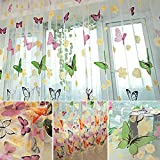 Colorful Butterlfly Offset Printing Burnt-Out Curtain Sheer Organdy Panel