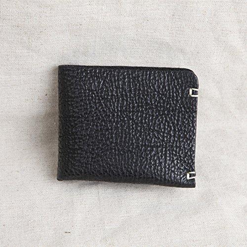 Reine Handarbeit Lederetui, kurze, schlanke, Retro Tasche, schwarz Black