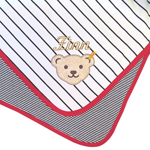 Steiff Babydecke mit Ihrem Wunsch Namen in der abgebildeten Stickschrift bestickt marine weiß gestreift 90 cm x 60 cm Namensdecke Krabbeldecke Steiff Collection little pirat