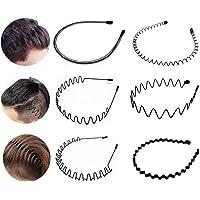 6 Stück Unisex Metall Haarband, Schwarz Spring Wave Haarband, Rutschfestes Elastisches Stirnband Haarbänder Haarreifen…
