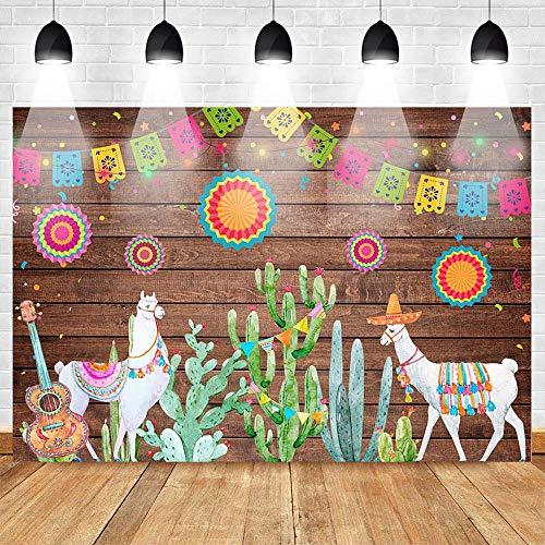 nd,Geburtstags-Fiesta-Foto-Hintergrund-Bretterboden-Hintergrund-Musik-Alpaka-Gitarren-Kaktus Hintergrund-Studio @ 250X250Cm_Thinvinyl ()