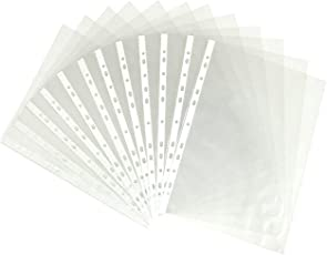 Transparent Document Sheet Protector, 25pcs Transparent Document Sleeves 150 Micron Thickness Leaf Sheet Clear Certificates/Document Leaves/ Waterproof Sheet Protectors 11 Holes Punched Ring Files (A4 Size)