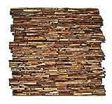 HO-006-1 Holz Paneele auf Netz Teakholz 3D Wandverkleidung Verblender Wandtatoo Wandfliese Wanddekoration - Fliesen Lager Verkauf Stein-Mosaik Herne NRW