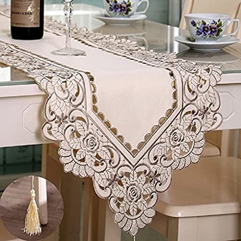 K&C Wedding Party Home Decoration Flower Embroidered Hemstitch Table Runner Tapestry 15.75*88.61 inch
