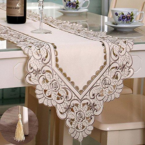 K&C beige Spitze-Tabellen-Läufer-und Dresser-Schal gestickte Rosen-Blume 15.75 * 114.17 Zoll (Checker Tischdecke Schwarz)