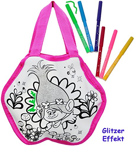 """Malset / Bastelset zum Bemalen - Tasche - """" Trolls - Poppy """" - Henkeltasche / Tragetasche - abwischbar + beschichtet + mit 6 Textilstifte - Kindertasche Tasche Stoff - Kindertasche - gestalten - für M"""
