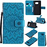 Galaxy S7 Edge Case, KKEIKO� Galaxy S7 Edge Flip Leather Case [with Free Tempered Glass Screen Protector], Shockproof Bumper Cover and Premium Wallet Case for Samsung Galaxy S7 Edge (Blue)