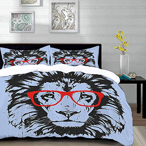 Yaoni Bettwäsche-Set, Mikrofaser,Tier, Grunge Lion Portrait mit Hipster Brille Nerd Humor Comic King Illustration, 1 Bettbezug 200 x 200cm + 2 Kopfkissenbezug 80x80cm