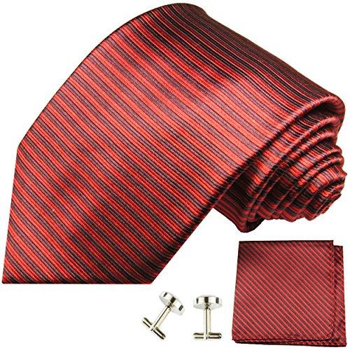 Cravate rouge noir rayée ensemble de cravate 3 Pièces ( 100% Soie Cravate + Mouchoir + Boutons de manchette )