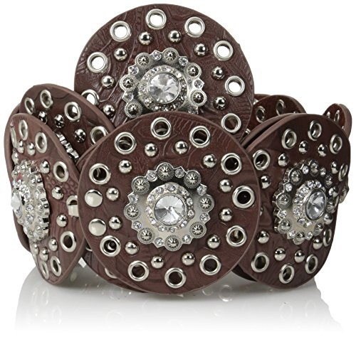 Nocona Belt Co. Women's Nocona Swival Clear Concho Belt Accessory, -brown, Large - Nocona Concho