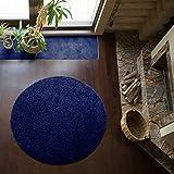 Shaggy-Teppich | Flauschiger Hochflor fürs Wohnzimmer, Schlafzimmer oder Kinderzimmer | einfarbig, schadstoffgeprüft, allergikergeeignet in Farbe: Blau; Größe: 160 cm rund