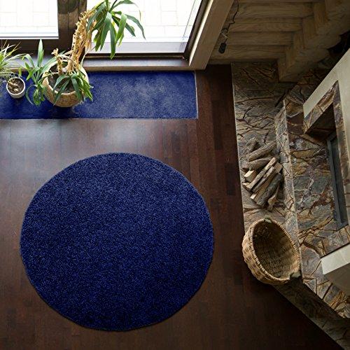 Shaggy-Teppich | Flauschiger Hochflor fürs Wohnzimmer, Schlafzimmer oder Kinderzimmer | einfarbig, schadstoffgeprüft, allergikergeeignet in Farbe: Blau; Größe: 120 cm rund