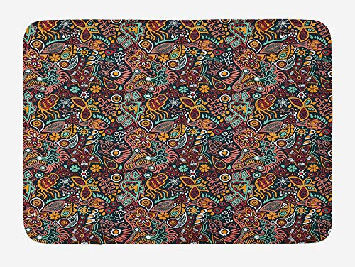 Flower Blossom Bath (PdGAmats Floral Bath Mat, Funky Mixed Flower Blossoms with Fishes Butterflies Exotic Nature Foliage Theme, 23.6 W X 15.7 W Inches)