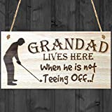 Red Ocean Grandad Lives Here When Hes Teeing Off Hanging Wooden Plaque Grandpa G