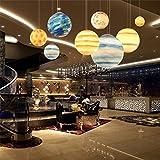 AEXU Exquisit Kronleuchter, Nordic Modern Creative Universum Planet Harz Kronleuchter Wohnzimmer Restaurant Hotel Cafe Bar Deckenleuchte E27 (Farbe: Saturn-Durchmesser 30cm)