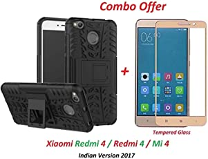 BY-like it grab it it Mi 4 / Redmi 4 / Redmi4 / Mi4 (COMBO OFFER) Hybrid Armor Design Detachable and Stand-up Feature Dual Layer Protective Shell Hard Back Cover Case Mi Redmi 4 [May 2017 Launch] ( Black ) + 2.5D curved 3D Edge to Edge Full Screen Tempered Glass Mobile Screen Protector - - - ( Gold )