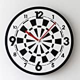 KKLOCK Wall Clock Mute Suzuki Movement Sweep Slient for Living Room Bedroom Kitchen AA Battery Mini Simple Black and White Dart Board with Arabic numerals Acrylic and Wood 11 Inch (Battery not included)