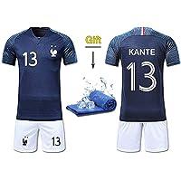 Fine Finet Maillots de Sport Garçon Football T-Shirt et Short France 2 Étoiles Vêtements de Football Beau Populaire pour Enfant Garçon -