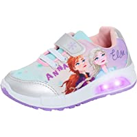 Disney Girls Frozen 2 Light Up Trainers Kids Elsa Anna Sports Shoes Pumps with Flashing Lights