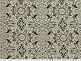 Viskose Mousseline, Blumen und Ornamente, schwarz-weiß,150cm