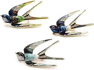 CAILI 3 PCS Spilla Vintage Rondine, Spilla Superba Animale, Lega di Alta qualità + Strass + Spilla a Goccia, Ornamento Perfetto Unisex di Moda
