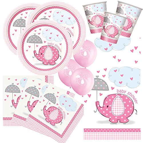 57-teiliges Party Set Baby Elefant rosa - Babyparty - Teller, Becher, Servietten, Tischdecke, Luftballons