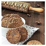 Shenye Weihnachten Hölzern Teigroller Graviert Prägung Nudelholz mit Weihnachten Symbole zum Backen Geprägt Kekse - Christmas Wooden Rolling Pins (43x5cm)