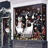 FABSELLER Fenstersticker Weihnachtsbaum Wandaufkleber Rentier Weihnachtsdekoration Zuhause Wohnzimmer Schlafzimmer Schaufenster (Zwei weiße Hirschbaum)